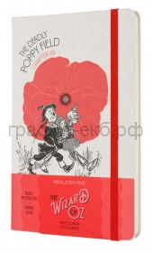 Книжка зап.Moleskine Large WIZARD OF OZ  линейка белый/красный Poppy Field LEWOZQP060PF
