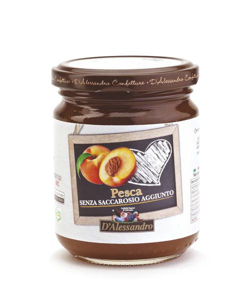 Конфитюр из персиков без добавления сахара 230 г, Confettura di pesche senza zucchero, D'Alessandro confetture 230 gr