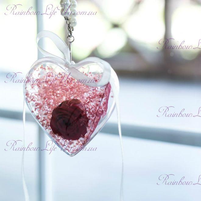 Брелок - сердце роза и сухоцветы