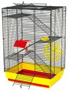 Клетка Дарэлл для грызунов Саша стандарт+ 3-х этажная (комплект: домик миска колесо) 41х30х58см
