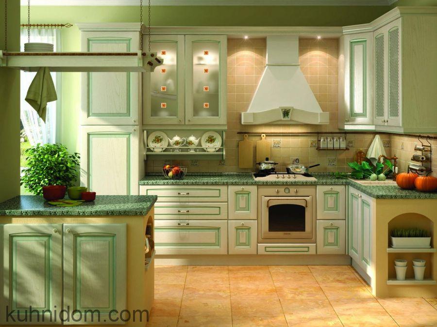 Кухня Искья Зелёная с витринами