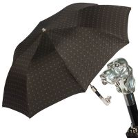 Зонт складной Pasotti Auto Fido Silver Rombo Black