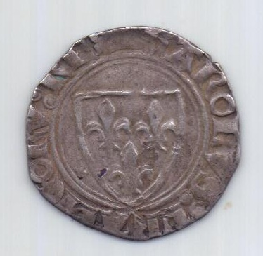 Бланк 1380-1422 года Франция Карл VI Безумный XF