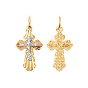 Крест из комбинированного золота с алмазной гранью 121209 SOKOLOV