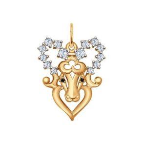 Золотая подвеска «Знак зодиака Овен» 035123 SOKOLOV