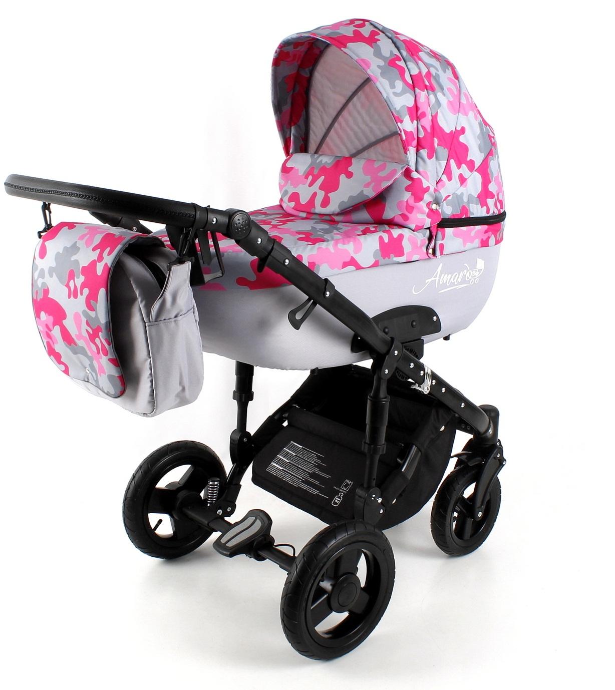 Коляска детская 2в1 AmaroBaby SOFT (розовый милитари (камуфляж) Soft-04