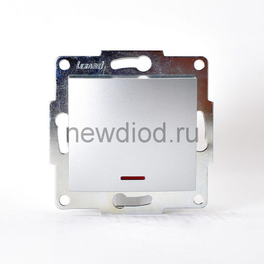 KARINA Выключатель с подсветкой матовое серебро  (10шт/120шт)