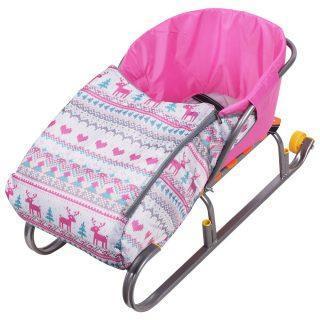 Сиденье с чехлом для ног для санок Вязанный узор (розовый)
