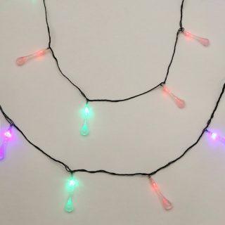 Гирлянда Капли 30 LED, цветное свечение, черный провод, 5м