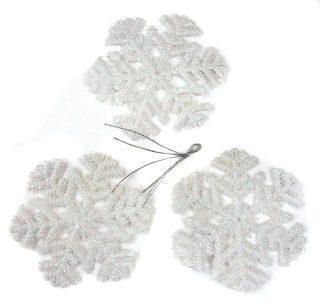 Н-р подвесок Снежинка 12 см, 3 шт., бел., пластик