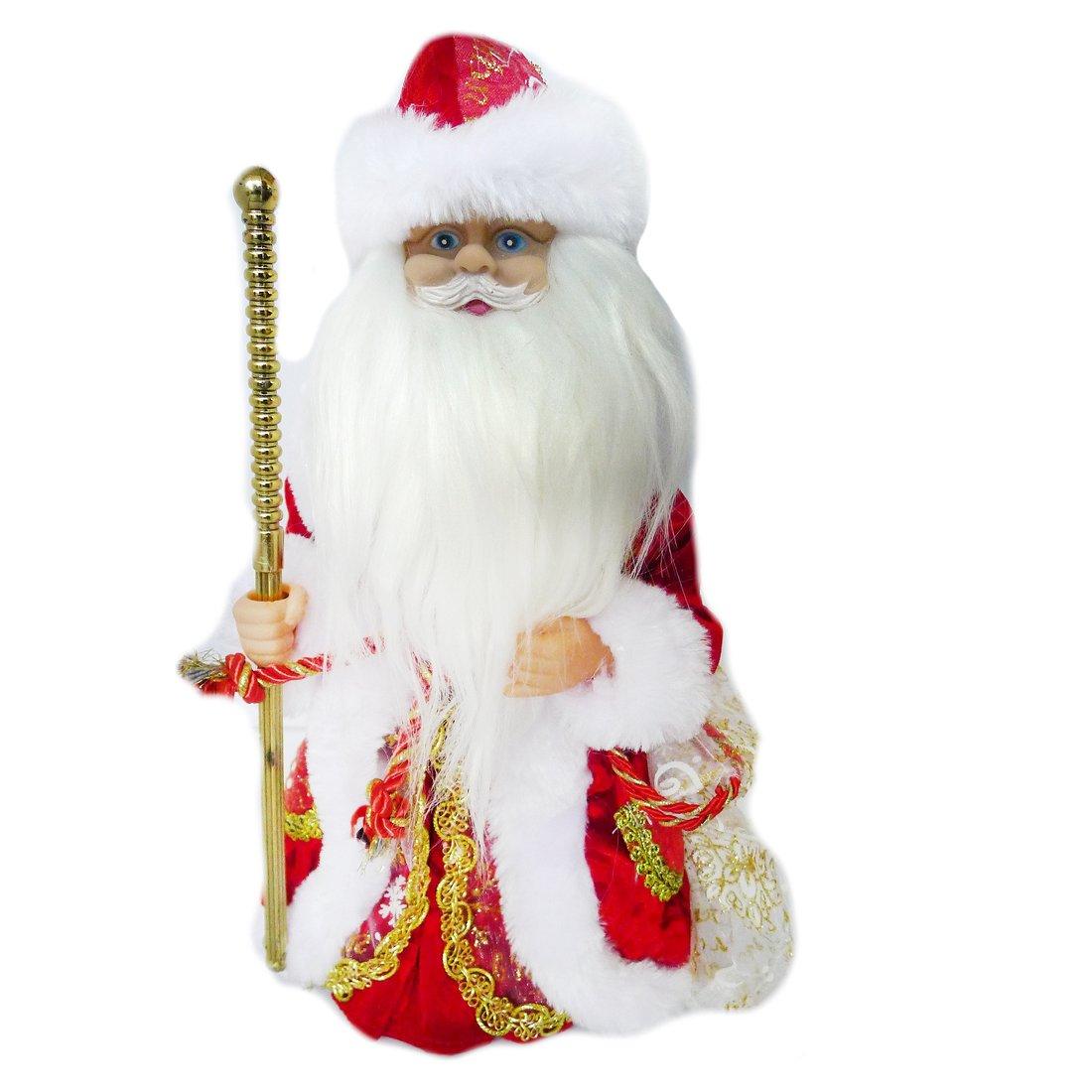 """ДЕФЕКТ УПАКОВКИ  Дед Мороз в красном  мех. муз. 30 см, песенка """"В лесу родилась елочка"""", элементы питания не входят в компл."""