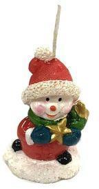 Свеча Снеговик с подарком 6 см, красн.