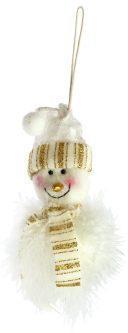 Подвеска Снеговик 11 см, бел.+золото