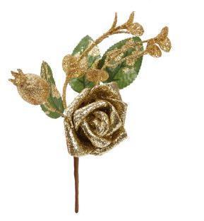 Веточка новогодняя с цветком 19*12 см