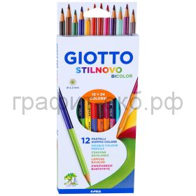 Карандаши цв.12=24цв.GIOTTO Stilnovo Bicolor 2-х сторонние 256900