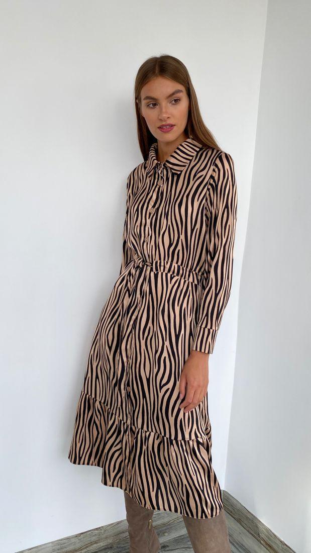 s2262 Платье-рубашка с кулиской бежевое зебра