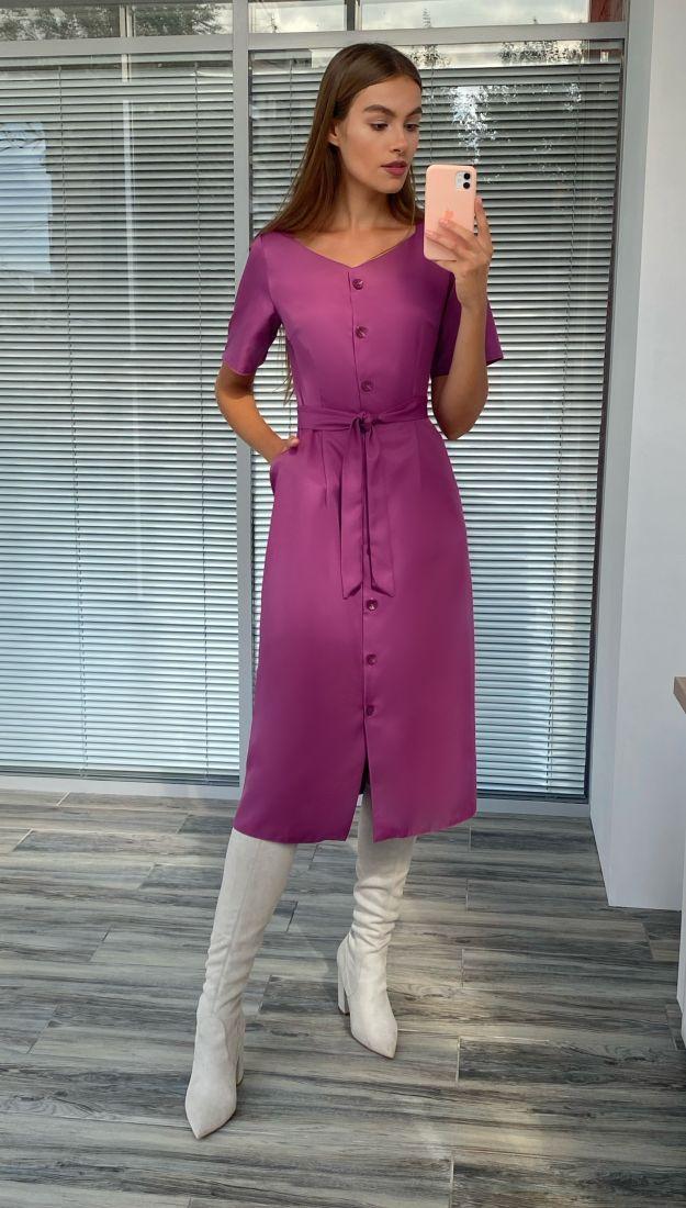 s2266 Платье с фигурным вырезом в цвете пиона