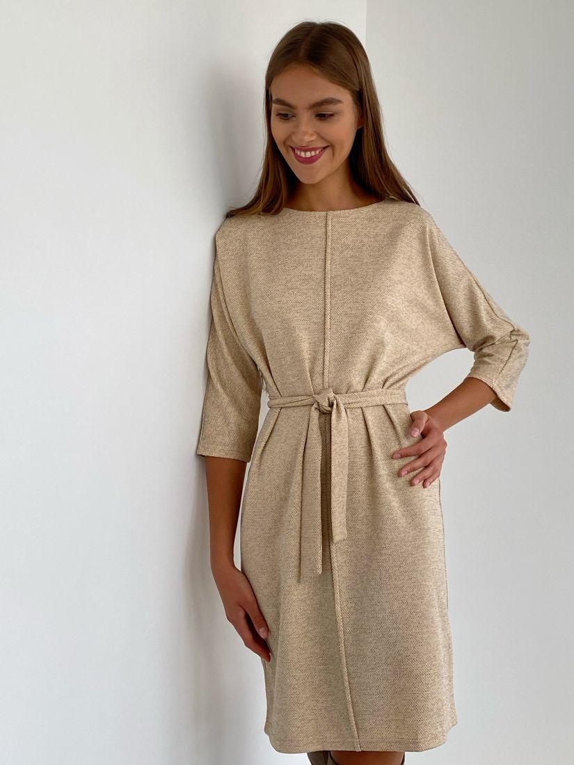 s2273 Платье из трикотажа с планкой бежевое