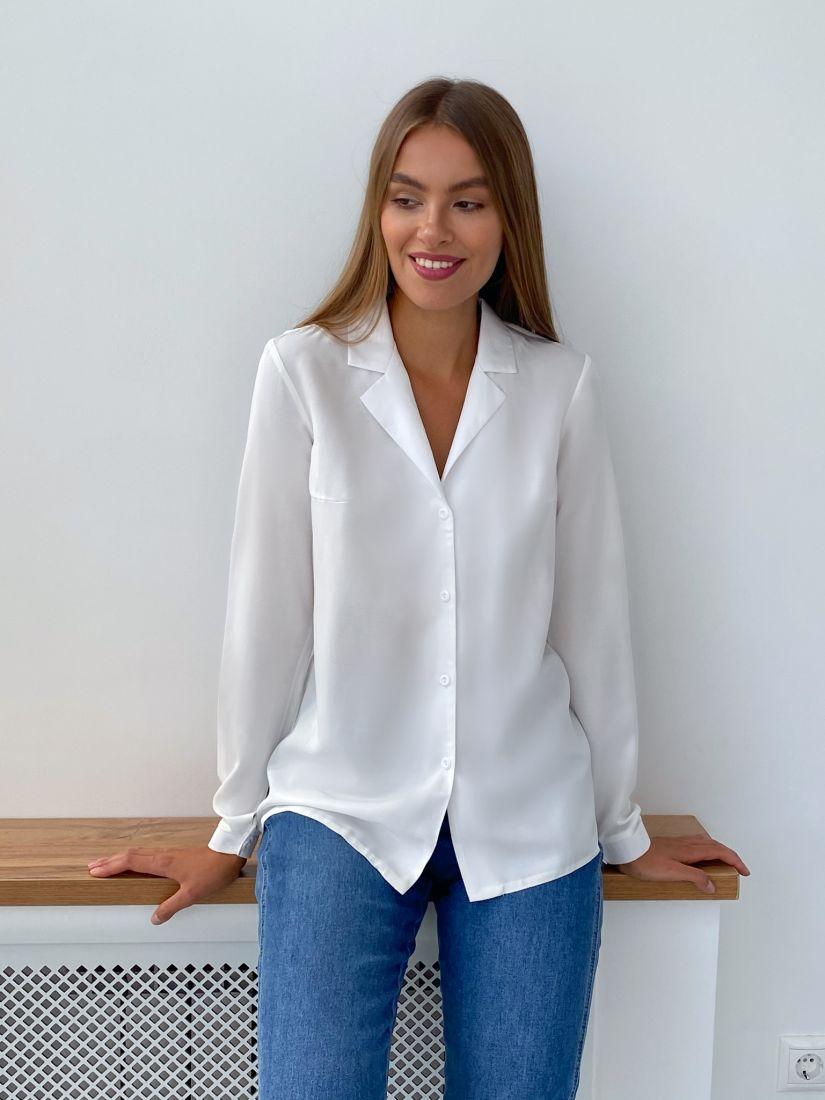 s2284 Блуза с английским воротником белая