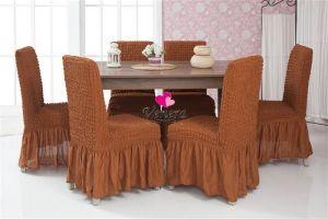Набор чехлов для стульев 6 шт с оборкой ,Темно-Рыжий