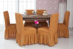 Набор чехлов для стульев 6 шт с оборкой ,Рыжий