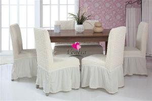 Набор чехлов для стульев 6 шт с оборкой ,Кремовый