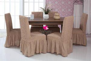 Набор чехлов для стульев 6 шт с оборкой ,Какао
