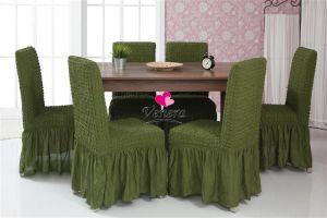Набор чехлов для стульев 6 шт с оборкой ,Зеленый