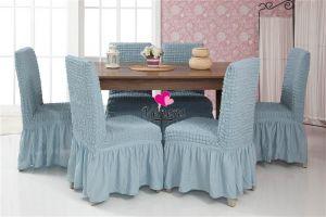 Набор чехлов для стульев 6 шт с оборкой ,Голубой