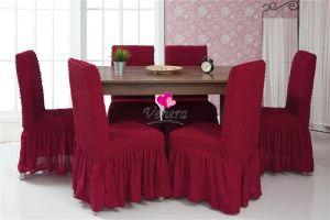 Набор чехлов для стульев 6 шт с оборкой ,Бордовый