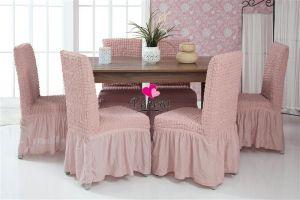 Набор чехлов для стульев 6 шт с оборкой , Сухая Роза