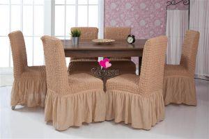 Набор чехлов для стульев 6 шт с оборкой , Песочный