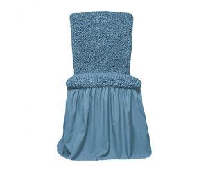 Чехол на стул с оборкой,Голубой