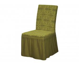 Набор чехлов для стульев 6 шт с оборкой ,Damask 04-Yesil