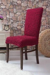 Набор чехлов для стульев 6 шт без оборки,Бордовый