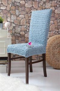Набор чехлов для стульев 6 шт без оборки,Голубой