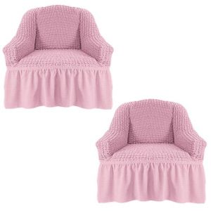 Набор чехлов для кресла с оборкой (2шт.), Светло-розовый