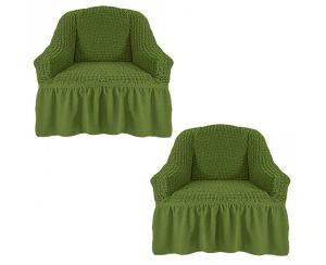 Чехол на кресло с оборкой (1шт.) К 029,зеленый
