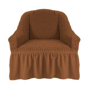Чехол на кресло с оборкой (1шт.) К 029, Коричневый