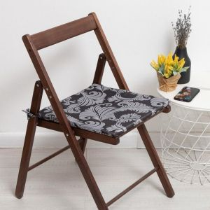 Сидушка на стул «Папоротник», цвет чёрный 40х401,5см