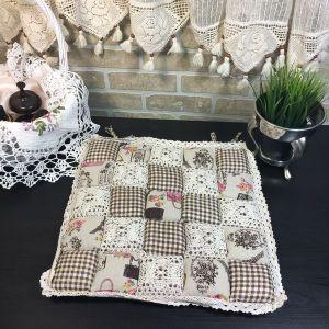 Подушка для стула пэчворк дизайн 26