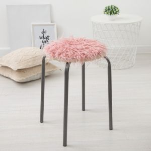 """Сидушка на стул меховая Доляна """"Уют"""" цв.розовый d 30 cm,100% п/э   4386269"""
