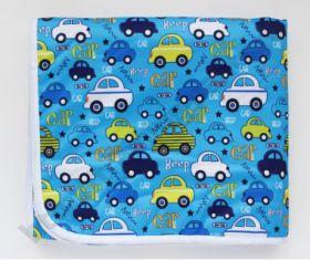 Впитывающая пеленка Машинки на голубом (бамбук-уголь) 70*120
