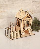 Чайный домик с забором и лавочкой