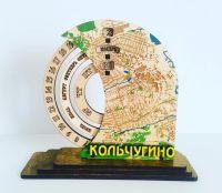 Календарь из фанеры вечный круглый с картой