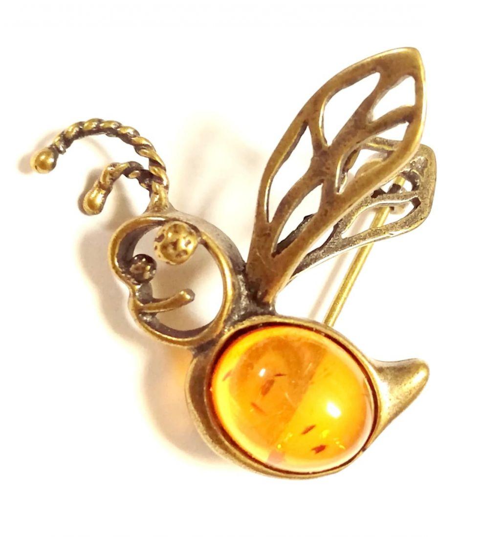 Брошь пчелка с янтарем