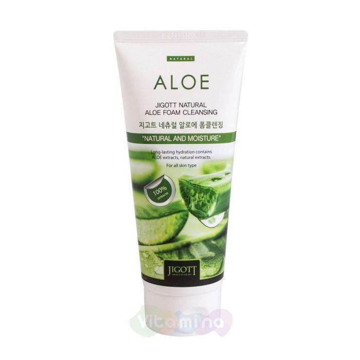 Jigott Успокаивающая пенка с экстрактом алоэ Natural Aloe Foam Cleansing, 180 мл