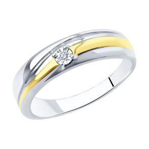 Кольцо из серебра с родированием с бриллиантом 87010038 SOKOLOV