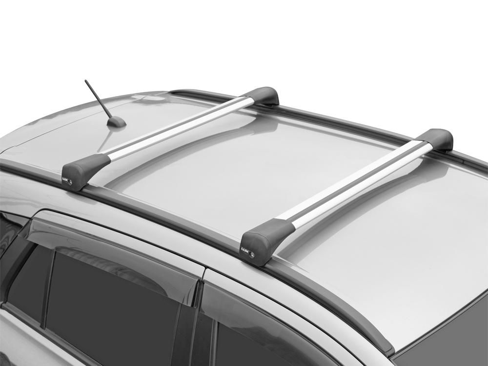 Багажник на крышу Hyundai Santa Fe, 2018-..., Lux Bridge, крыловидные дуги (серебристый цвет)