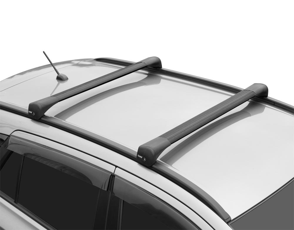 Багажник на крышу Hyundai Santa Fe, 2018-..., Lux Bridge, крыловидные дуги (черный цвет)